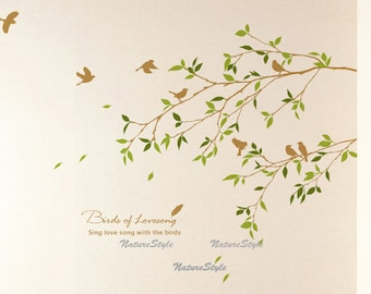 wall decal branches wall decal birds wall decal bedroom wall sticker nursery wall decal office decal nature- Two Branches with Flying Birds