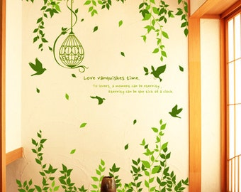 Green Branch with Flying Birds and Birdscage-Vinyl Wall Decal,Sticker,Nature Design
