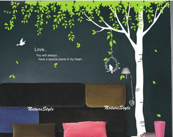 Green Tree with Flying Birds -Vinyl Wall Decal,Sticker,Nature Design