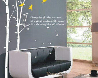 2 Birch Tree with Flying Birds and Letters-Vinyl Wall Decal,Sticker,Nature Design