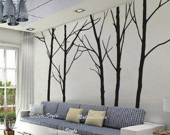 winter wall decal trees wall decor nursery vinyl wall decal baby wall sticker children room vinyl mural nature wall decal-Five Winter Trees