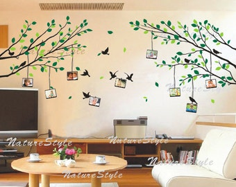 wall decal branch wall decal nursery wall decal office wall decal birds decal nature design - Branch with Flying Birds and Picture Frame