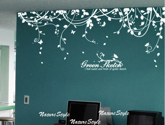 Abstract Flowers With ButterfliesVinyl Wall - Vinyl wall decals abstract