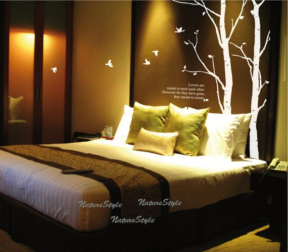Two Winter Trees with Flying Birds-Vinyl Wall Decal,Sticker,Nature Design
