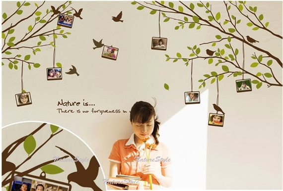Branch with Flying Birds and Picture Frame -Vinyl Wall Decal,Sticker,Nature Design