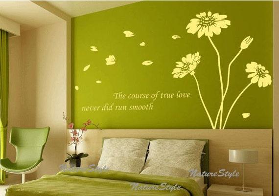 Fiore muro decalcomanie vivaio vinile muro di naturestyle su etsy