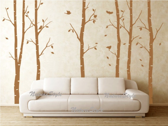 6 Birch Tree with Flying Birds and Letters-Vinyl Wall Decal,Sticker,Nature Design