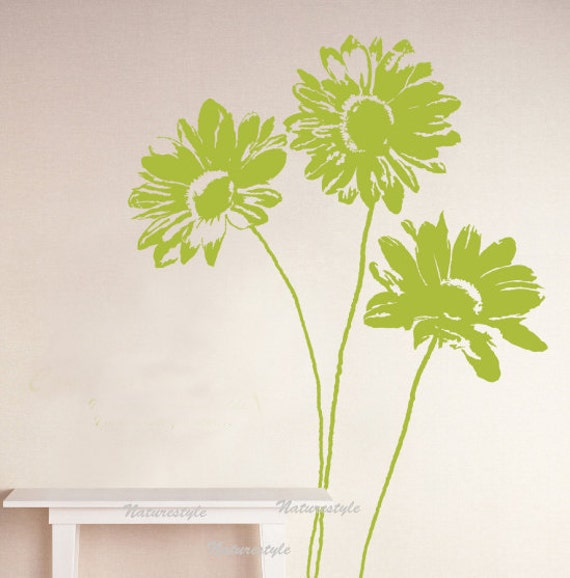 Beautiful sunflower -sunflower wall decal nursery wall sticker wedding office wall decal floral wall decal baby room decal wall mural