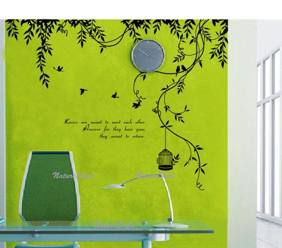 Cane with Flying Birds,birds cage and Letters-Vinyl Wall Decal,Sticker,Nature Design