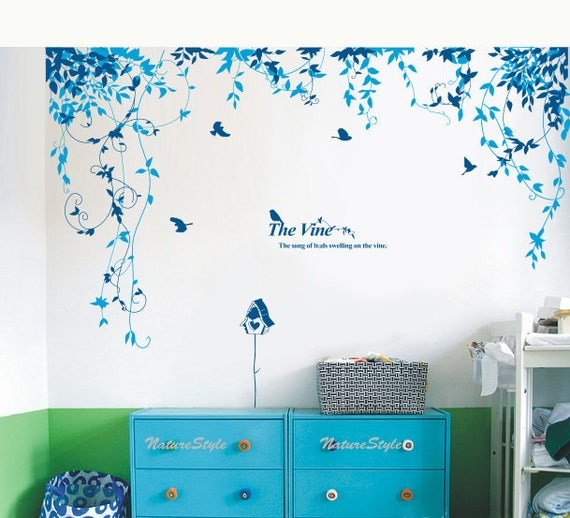 girl wall decal children wall decor baby room wall sticker office wall decal bedroom wall decal - Abstract Flowers with Birds
