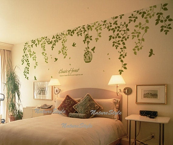 Beautiful Flowers with Flying Birds and Birdscage-Vinyl Wall Decal vinyl vine wall sticker birdcage birds wall decor nursery decor