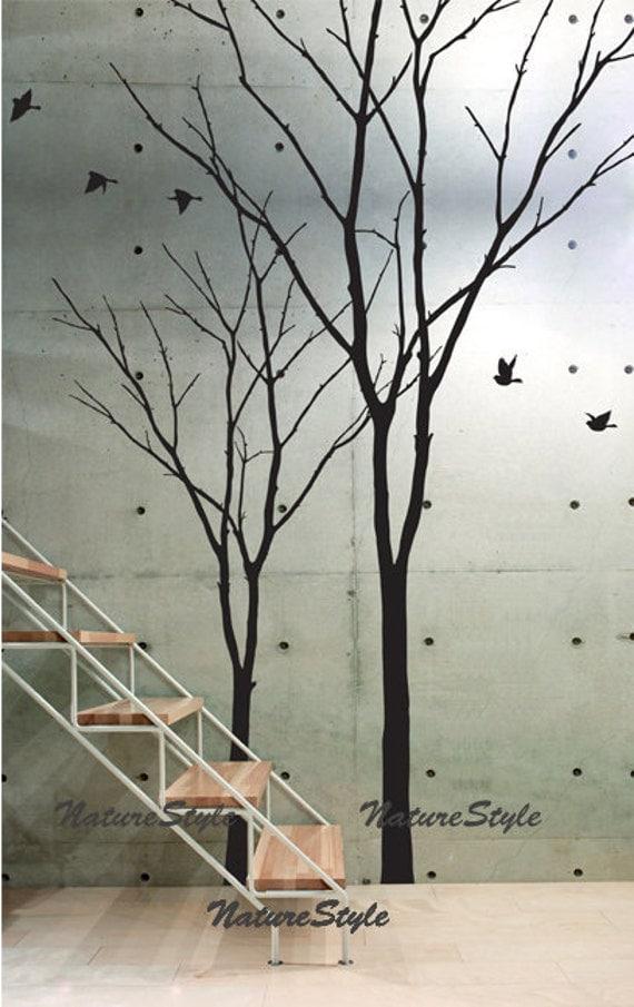 Vinyl Wall Decor Trees : Vinyl wall decal winter trees nursery flying birds