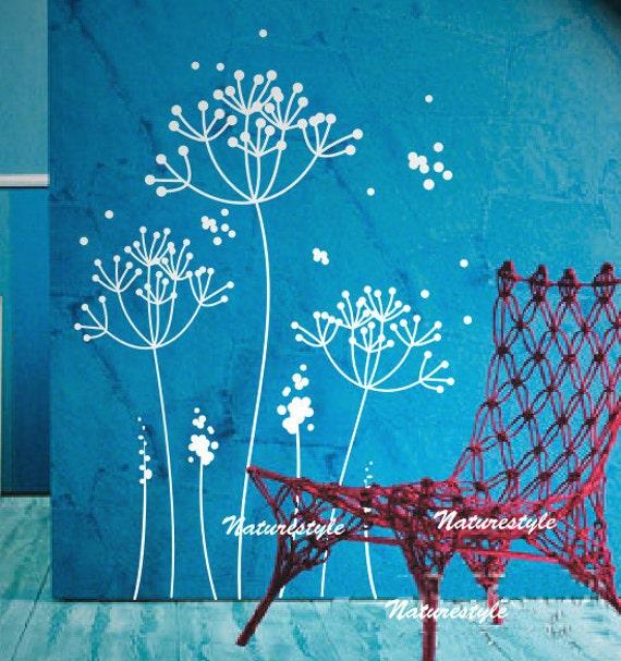 dandelions wall decal-girl wall decal kids nursery vinyl wall decals flower mural wall decals floral wall sticker boy baby  wall vinyl decal