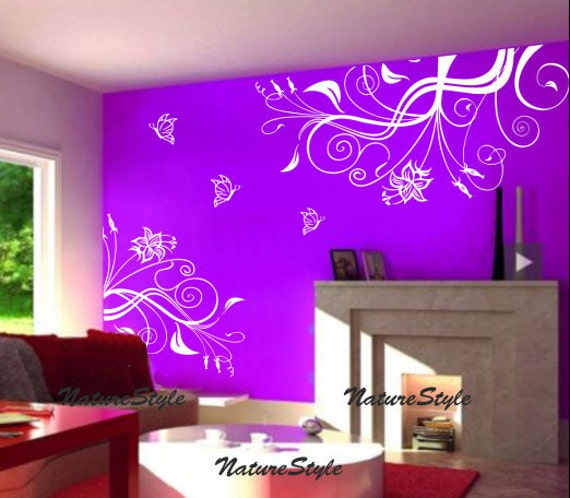 Vinyl Wall Decals Flower Wall Decal Floral Wall Sticker Art - Custom vinyl wall decals flowers