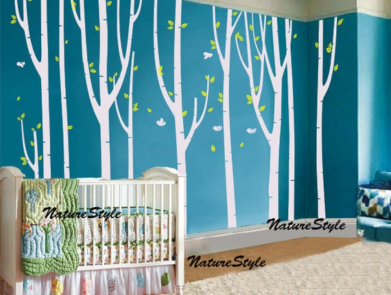 nursery tree wall decal Vinyl Wall Decal, wall Sticker,Nature Design - Flying Birds in the Forest