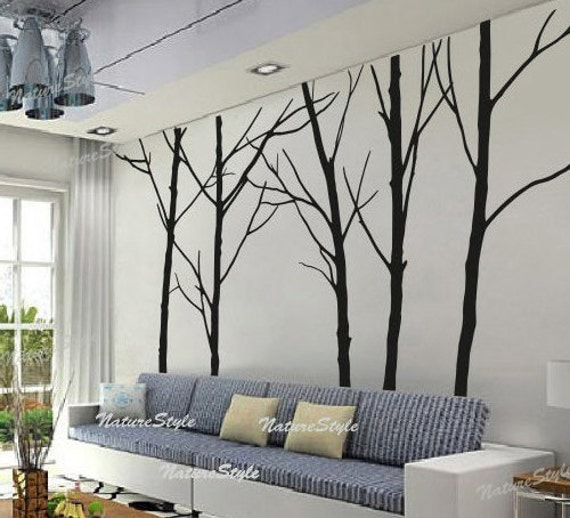 Winter wall decal trees wall decor nursery vinyl wall decal for Black tree wall mural