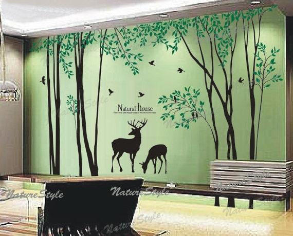 Birch tree with flying birds and deer wall decal nursery wall for Baby girl nursery mural