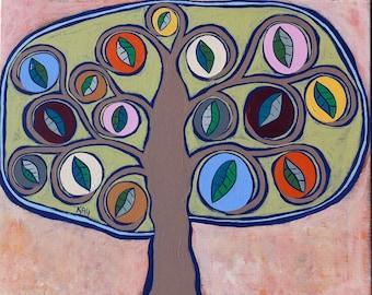 Kerri Ambrosino Original Art 16x20 Mexican Folk Art Saphire Glow Tree