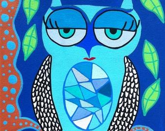 Kerri Ambrosino Mexican folk  Art PRINT Blue Owl