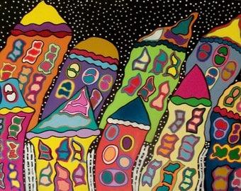 Kerri Ambrosino Mexican Folk Art PRINT Happy Wind Houses Night Skies Storm City