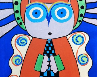 Kerri Ambrosino Mexican Folk Art PRINT Angel Owl Praying