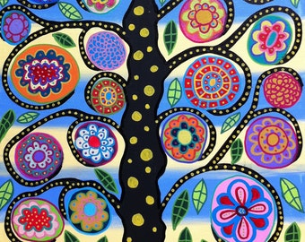 Kerri Ambrosino Art PRINT  Mexican Folk Art Tree of Life Flowers  Happiness