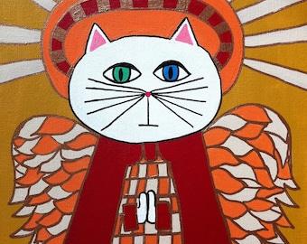Kerri Ambrosino Art PRINT Mexican Folk Art  Cat Angel Praying