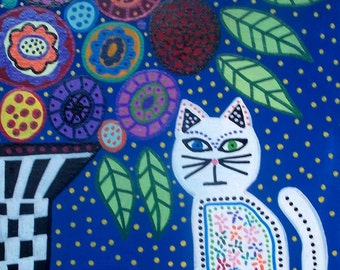 Kerri Ambrosino Art PRINT Mexican Folk Art White Cat and Flowers