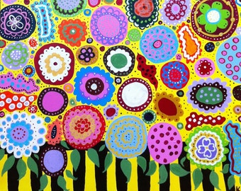 KERRI Ambrosino Mexican Folk Art PRINT English Flower Garden