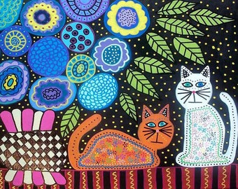 Ambrosino Art PRINT Mexican Folk Art Blue Violet Cats and Flowers