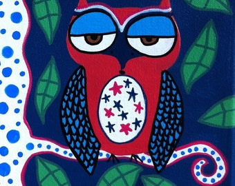 Kerri Ambrosino Mexican Folk Art PRINT American 4th of July Owl