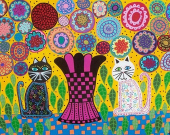 Kerri Ambrosino Mexican Folk Art PRINT Black and White Summer Cats Flowers
