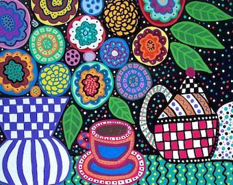 Kerri Ambrosino PRINT Mexican Folk Art tea pot Flowers Night Time Tea