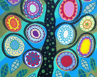 Kerri Ambrosino Art PRINT Mexican Folk Art  Aqua Marine Tree of Life