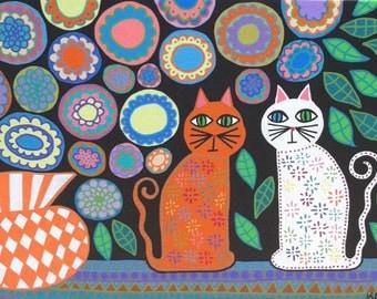 Kerri Ambrosino Mexican Folk Art PRINT Flowers and Cats Vase Kitchen Roses Dasies Talavera