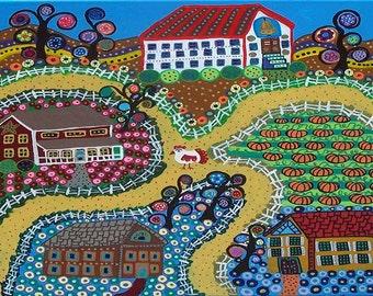 Kerri Ambrosino Mexican  Art PRINT Folk Art Saltbox  Country Town school flowers landscape