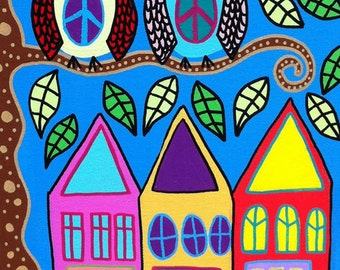 Kerri Ambrosino Art PRINT Mexican Folk Art  Peace Owls Trees Houses