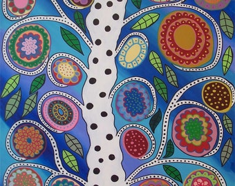 Ambrosino Art PRINT Summer Breeze Mexican Folk Art Flower Tree of life