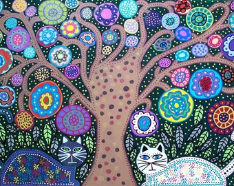 Kerri Ambrosino Art PRINT Mexican Folk Art Flower Tree of Life Cats Leaves Roses