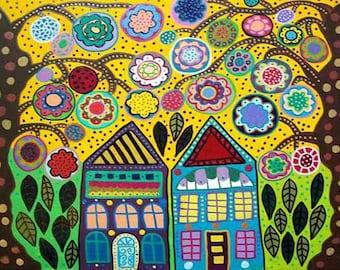 Kerri Ambrosino Art NEEDLEPOINT Mexican Folk Art  Mountain Trees Flowers Country  Houses