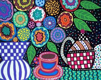 Kerri Ambrosino Art NEEDLEPOINT Mexican Folk Art  Tea Party under the Flowers