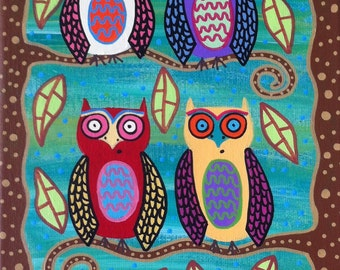 Kerri Ambrosino Art NEEDLEPOINT Mexican Folk Art Owls Aqua green tree leaves