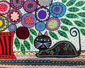 Kerri Ambrosino Art NEEDLEPOINT Mexican Folk Art Black Cat under The Flowers