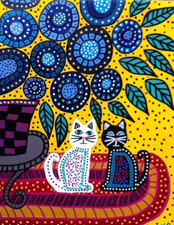 Kerri Ambrosino Mexican Folk Art Print Best Friends Flowers