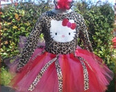 Leopard Hello Kitty 1 Birthday Personalized Tutu  Hair bow Set ( only one left )