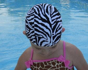 Lycra SWiM CaP - ZEBRA PRINT - Sizes - Baby , Child , Adult , XL - Made from Spandex / Swimsuit Swimming Fabric -by Froggie's Swim Caps