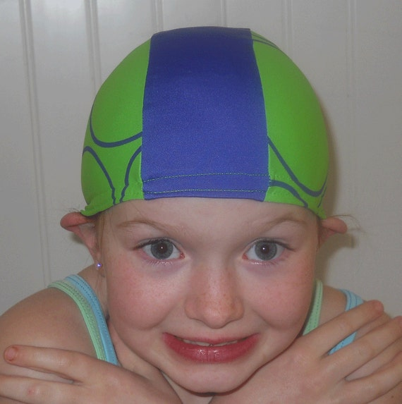Lycra SWiM CaP- 1 CHILD size left - Green and Blue - Discontinued - SALE price
