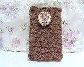 Brown-Beige Crocheted Cell Phone Cover with Ceramic Decoration Covers for Phones Mobile Accessories