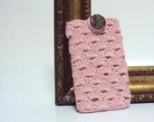 Pink Crocheted Cell Phone Cover with Ceramic Decoration Covers for Phones Mobile Accessories