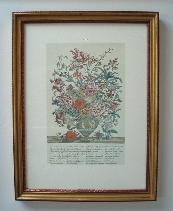 Vintage Framed Botanical Print / Litho by Bernard Picture Co - July - Birth Month - Lithograph - Flowers - Botanical Print